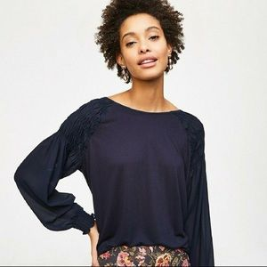 Loft navy shirred smocked long sleeve top